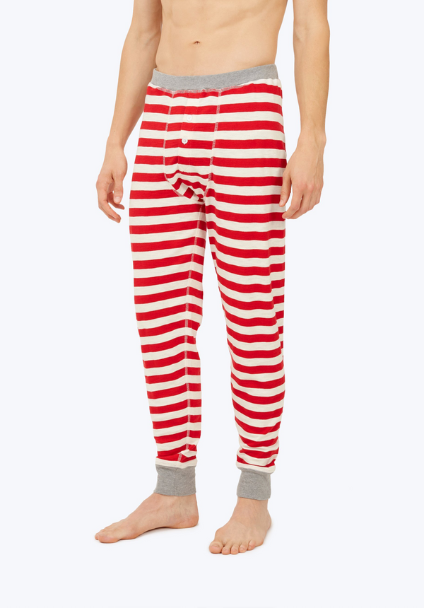 SLEEPY JONES | Keith Long John in Red Slub Stripe
