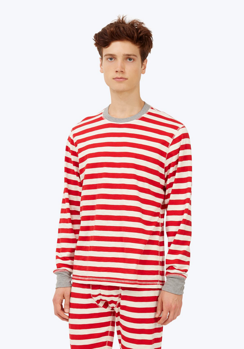 SLEEPY JONES | Keith Long Sleeve Shirt Red Slub Stripe