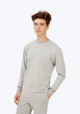 SLEEPY JONES | Powell Long Sleeve Shirt in Heather Grey Jersey