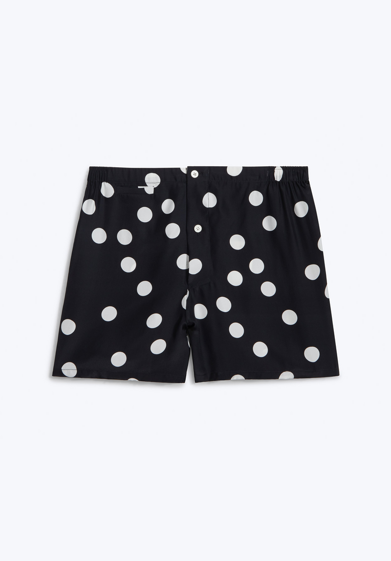 SLEEPY JONES | Silk Jasper Tailored Boxer in Black & White Polka Dot
