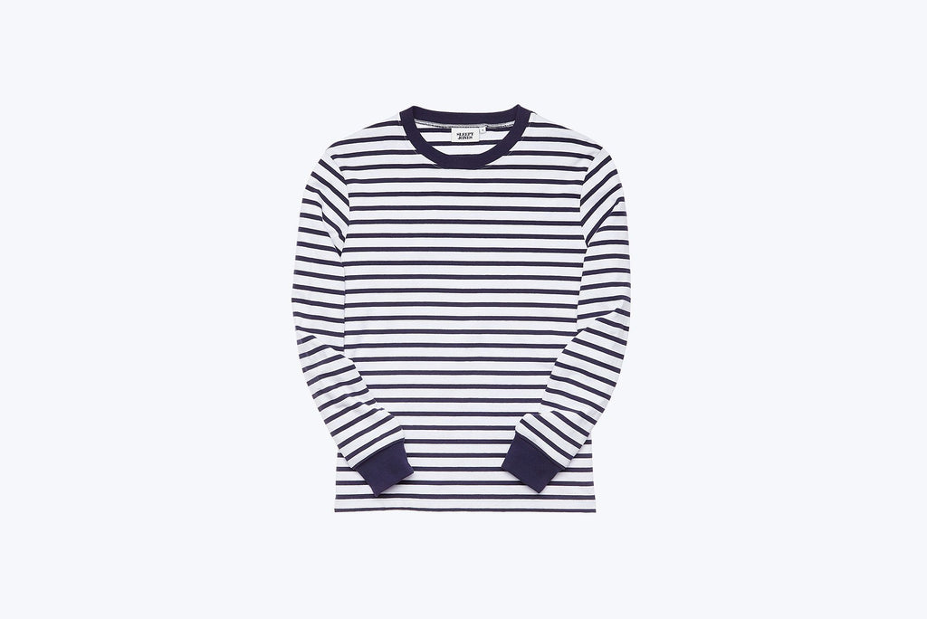 Stevie Crewneck in Striped Jersey Navy & White