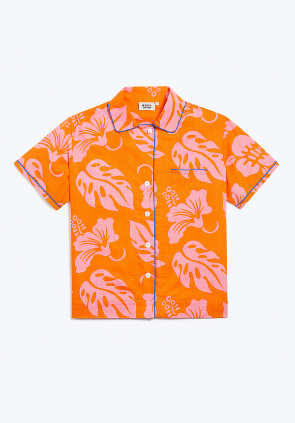 SLEEPY JONES | Corita Pajama Shirt in Orange & Pink Aloha Floral