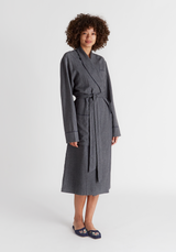 SLEEPY JONES | Glenn Robe in Grey Flannel Pin Stripe
