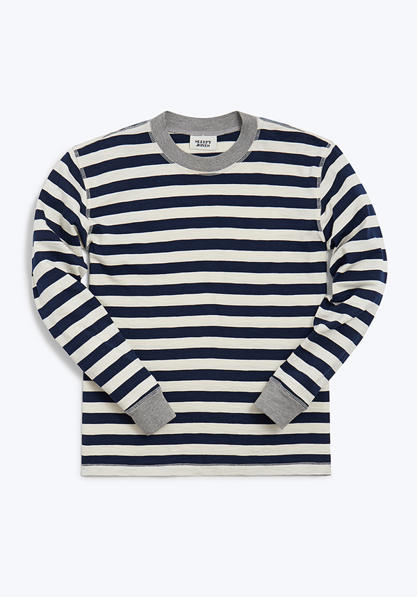 Helen Long Sleeve Shirt Navy Slub Stripe - Women's Tops | Sleepy Jones