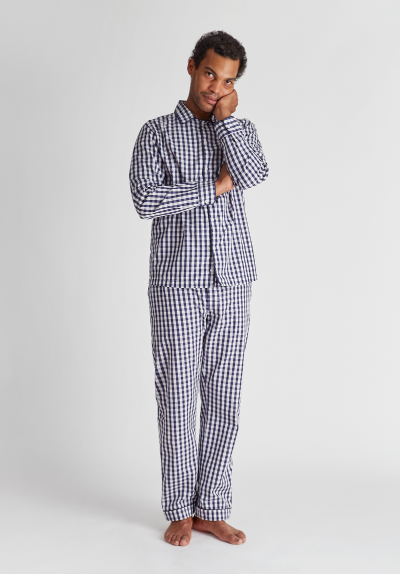 SLEEPY JONES | Henry Pajama Set in Navy Large Gingham