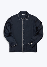 SLEEPY JONES | Silk Henry Pajama Shirt in Navy Silk Twill