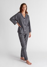 SLEEPY JONES | Marina Pajama Set in Grey Flannel Pin Stripe