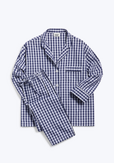 SLEEPY JONES | Marina Pajama Set in Navy Large Gingham