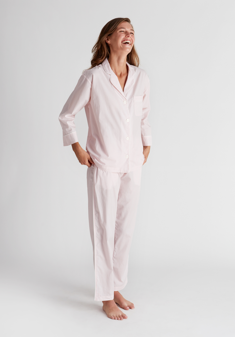 SLEEPY JONES | Marina Pajama Set in Pale Pink End on End