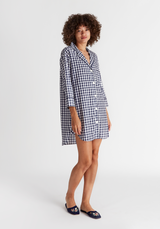 SLEEPY JONES | Marina Shirt Dress in Large Navy Gingham