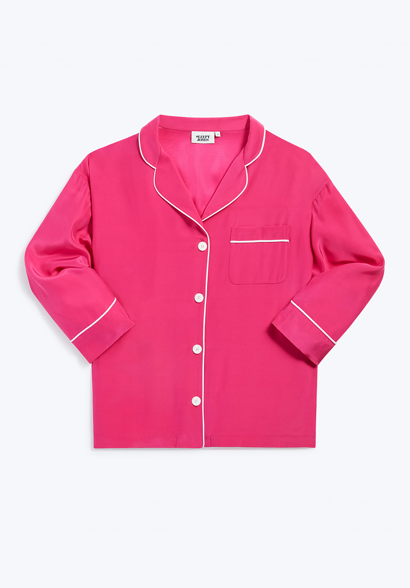 SLEEPY JONES | Silk Marina Pajama Shirt in Bright Pink Silk Charmeuse