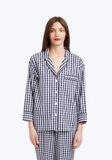 SLEEPY JONES | Marina Pajama Shirt in Navy Large Gingham