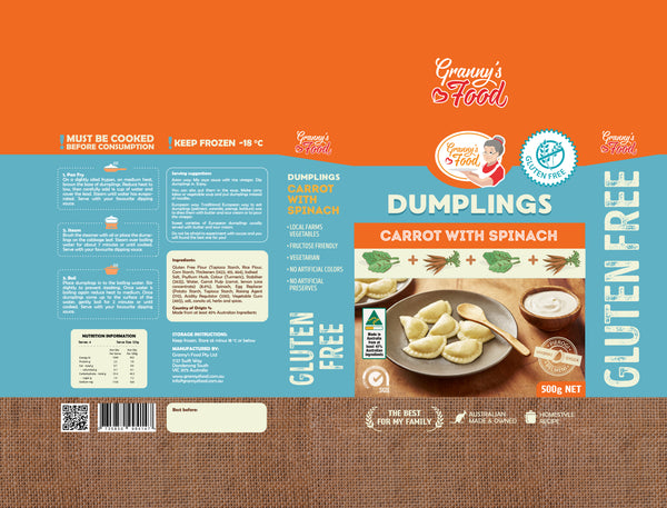 Granny's Food Gluten <br> Free Carrot with Spinach <br> Dumplings 500gr (Frozen)