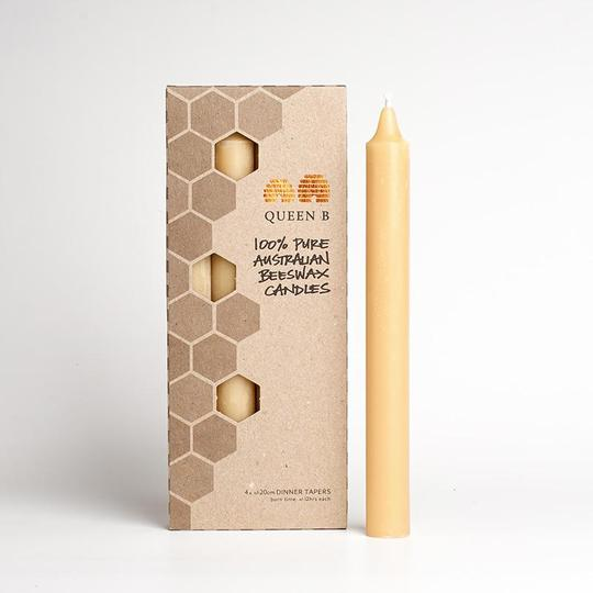 Queen B 20cm Taper Beeswax Candles (12hr Burn Time)