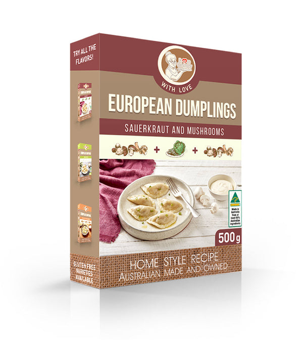 Granny's Food <br> Sauerkraut and Mushroom <br> Dumplings (Frozen)