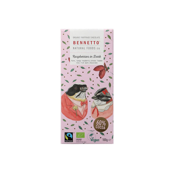 Bennetto Organic Dark Chocolate Raspberries in Dark 100gr