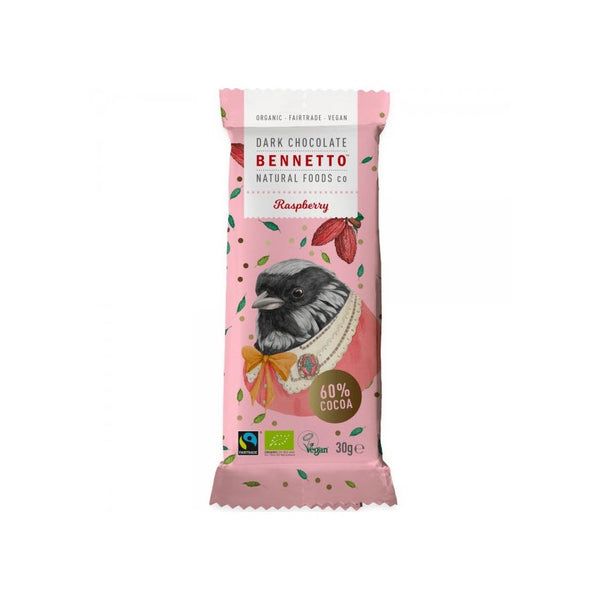 Bennetto Organic Dark Chocolate Raspberry 30gr