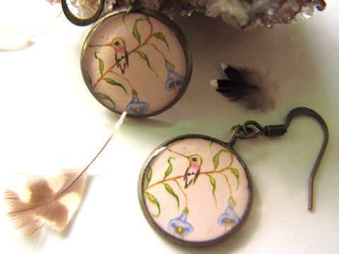 Hummingbird on Blue bell flowers (Earrings)