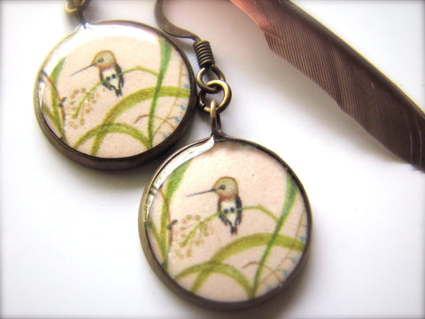 Hummingbird in Grasses and Blue Flowers (Earrings)