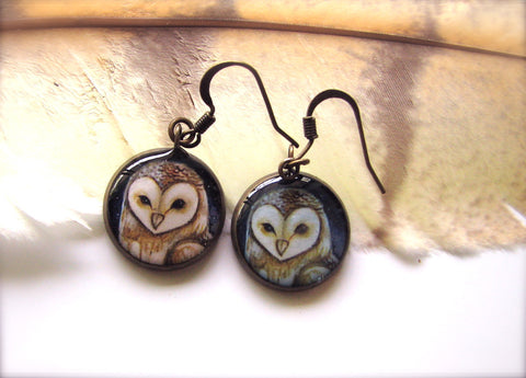 Barn Owl (Earrings) (Tyto alba)