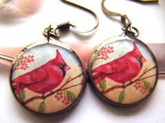 Cardinal in Cherry Tree (Earrings)