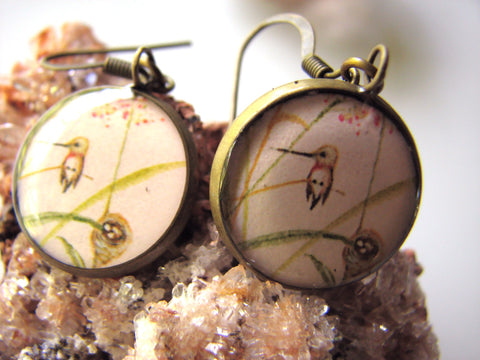 Hummingbird and Nest Pink Background (Earrings)