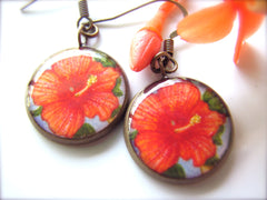 Hibiscus and Plumeria (Earrings)