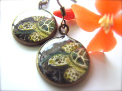 Honu on Black Sand (Earrings)