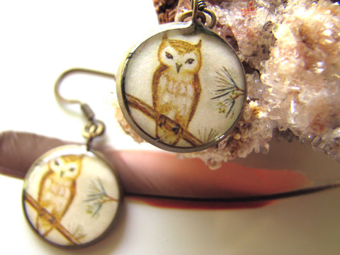 Tawny Owl in the Pines (Earrings)