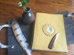 6x8 Leather Journal (Mama and Baby Hummingbird)