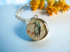 14k Gold Fill Hummingbird in Wildflowers (Small Size)