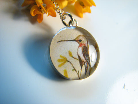 14k Gold Fill Hummingbird on Yellow Flowers (Small Size)