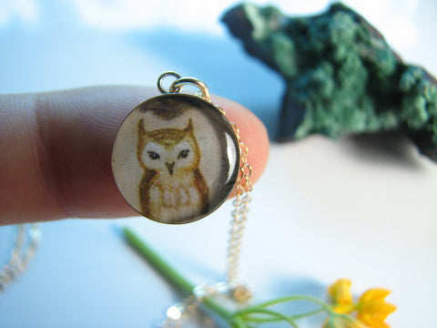 14k Gold Fill Tawny Owl in Pine (Small Size)