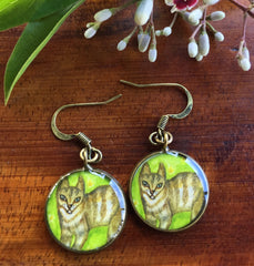 Cat on Grass (Earrings)