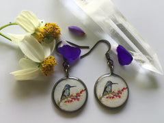 Hummingbird and Ocotillo Flowers (Earrings)