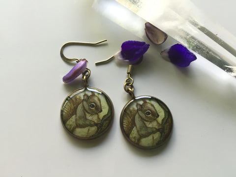 Squirrel on a Branch (Earrings)