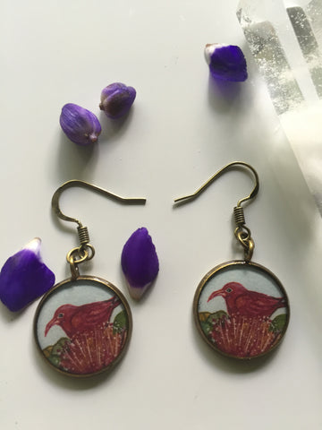 I'iwi and Ohia Flowers (Earrings)