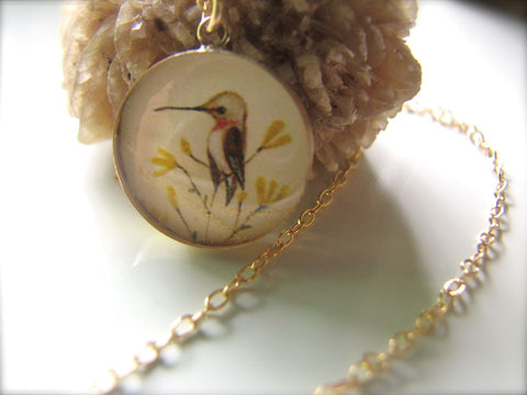14k Gold Fill Hummingbird on Yellow Flowers (Large Size)
