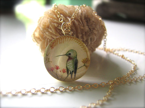 14k Gold Fill Hummingbird in Wildflowers (Large Size)