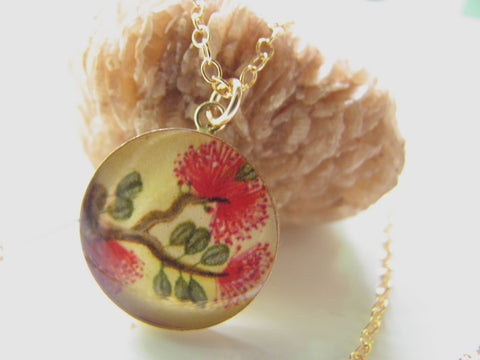 14k Gold Fill Red Lehua Blossoms (Large Size)