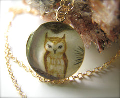 14k Gold Fill Tawny Owl in Pine (Large Size)