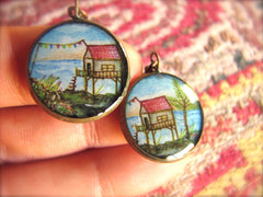 Red Roofed House on Stilts (Earrings)