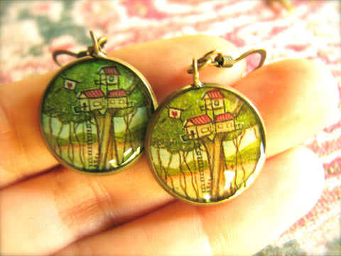 Three Story Treehouse (Earrings)