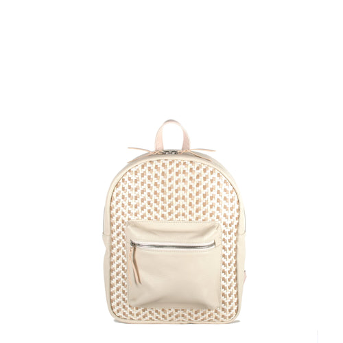 Mini Backpack - Offwhite with Light Pink Trim (Kids Backpack) - Backpack Made in USA | Made By Alex
