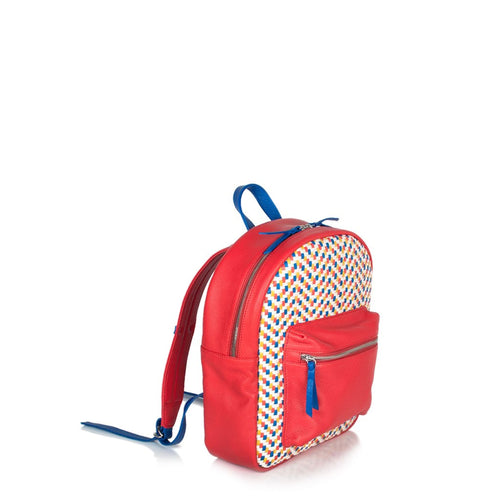 Mini Backpack - Red with Royal Blue Trim (Kids Backpack) - Backpack Made in USA | Made By Alex