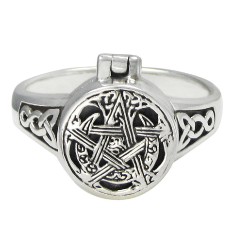Sterling Silver Moon Pentacle Poison Locket Ring - Eldertree Apothecary