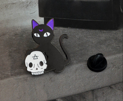 Cat and Skull Pin - Eldertree Apothecary