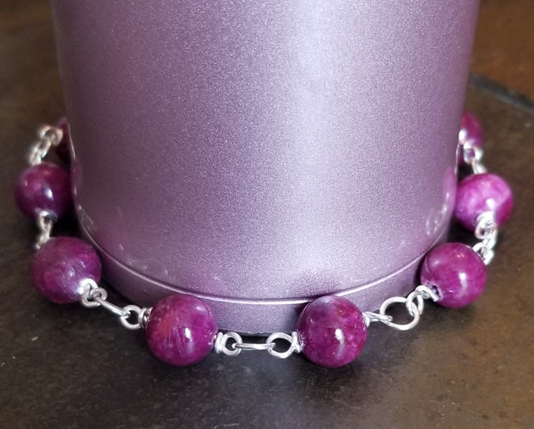 Royalty-Purple Jade Link Bracelet, Sterling Silver