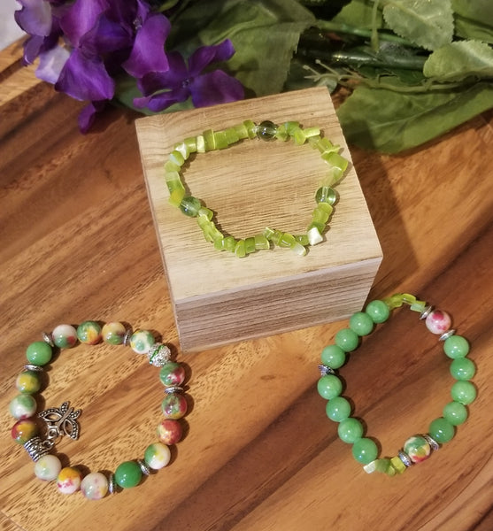 GreenSpring Love 3pc Beaded Stretch Bracelet