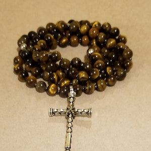 Men's Mala Inspired Tiger's Eye w/Cross